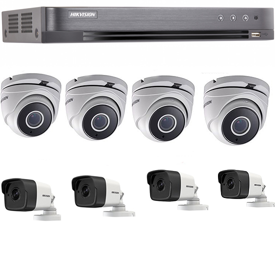 1 DVR Turbo + 4 Caméras Dôme Turbo HD + 4 Caméras 3MP Bullet Pack-8-HD